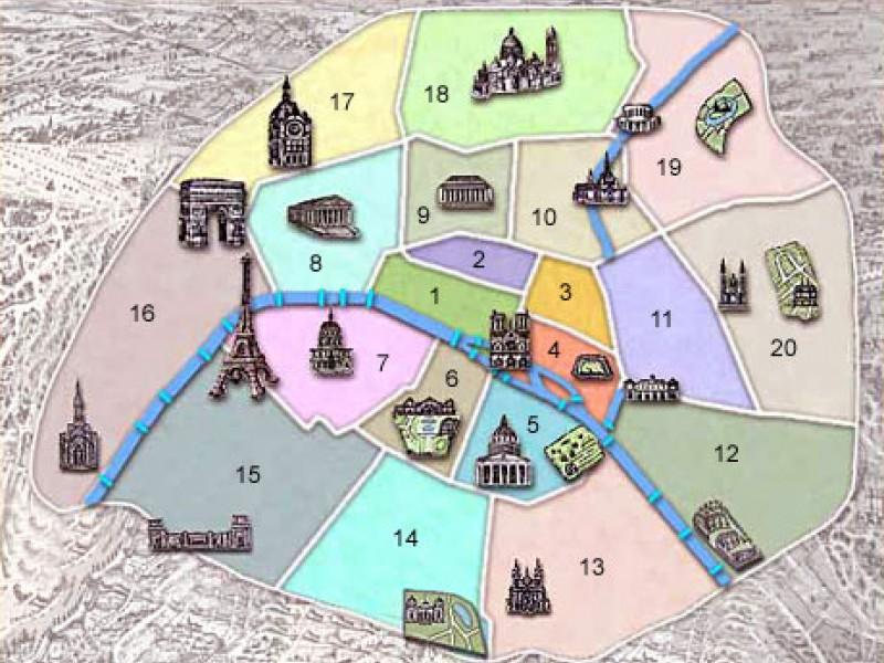 Stadtplan Pariser Arrondissements